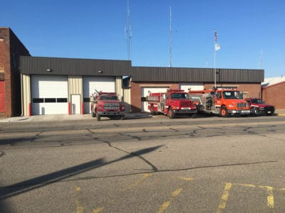 Completed Okemah Fire Department metal building construction.