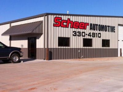 Scheer Automotive finalized metal building construction.