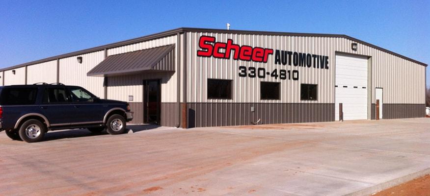 Scheer Automotive finalized metal building construction.